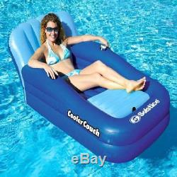 4 Pack Swimming Pool River Raft Inflatable Float Couch Lounge with Ice Cooler