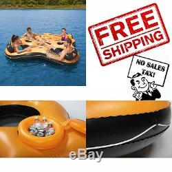 4 Person Island Inflatable Raft Floating Party Lounge Lake Pool Party Water New