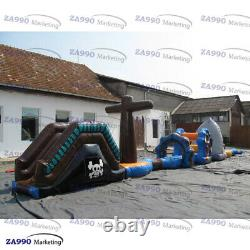 50x6.6ft Inflatable Pirates & Shark Course Obstacle For Pool With Air Blower