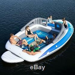 6 Person HUGE Party Island 20 ft Inflatable BOAT Lake Ocean Pool Float Lounge