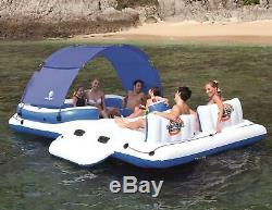 6 Person Inflatable Float Island Raft Pool Lake River Cover Sunshade Cooler Bag