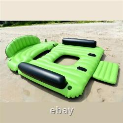 6 Person Inflatable Floating Island Pool Lake Party Canopy Raft Lounge Cup Hold
