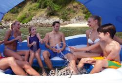 6 Person Inflatable Floating Island Pool Lake Party Canopy Raft Lounge w Cooler