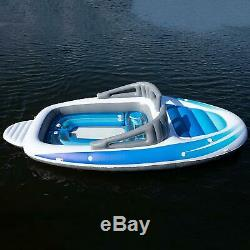 6-Person Inflatable Party Island, Bay Breeze Boat Island Summer pool float NEW