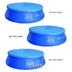 8, 10 & 12ft Pool Cover With Rope Ties Inflatable Paddling Swimming Pools