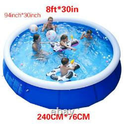 8ft x 30in Kids Summer Inflatable Above Ground Family Swimming Pool PVC Bath Tub