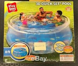 Above Ground Swimming Pool Inflatable Kids Play Fun 8ft 3D Transparent Quick Set