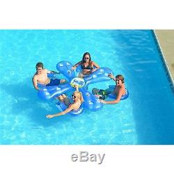 Ahhqua Bar Pool Lounge Inflatable Floating Party Float 4 Adult Seats Chair Water