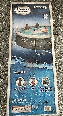 BESTWAY 15' x 42 FAST SET EASY INFLATABLE POOL With LADDER, FILTER PUMP, FILTER