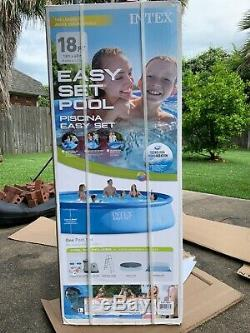 BRAND NEW Intex 18ft x 48in Inflatable Outdoor Above Ground Swimming Pool Set