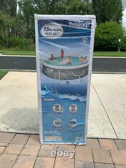 Bestway 15 x 42 Fast Set Easy Inflatable Swimming Pool Ladder Cover Pump Filter