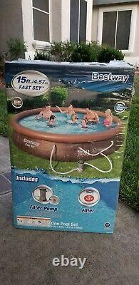 Bestway 15ft x 33in Inflatable Above Ground Swimming Pool with Filter Pump