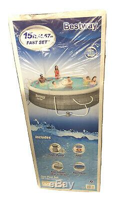 Bestway 15ft x 42in Inflatable Swimming Pool with Ladder, Cover, Pump, Filter