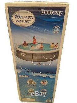 Bestway 15ft x 42in Inflatable Swimming Pool with Ladder, Cover, Pump & Filter
