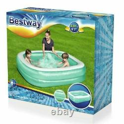 Bestway 79 Deluxe Rectangular Inflatable Family Swimming Paddling Pool Garden