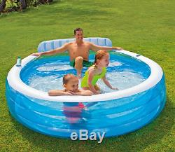 Blow Up Family Pool With Seats Eco Friendly Inflatable Kiddie Round Swimming Kid