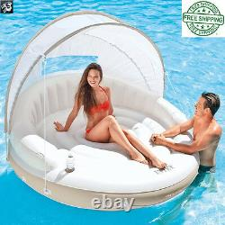 Canopy Island, Inflatable Swimming Pool Water Float Raft Private Island Lounge