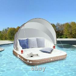 Float Lounge Raft Retractable Canopy Inflatable Island Beach/ Swimming Pool/Lake