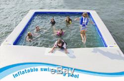Floating Lake Pool Inflatable Sun Deck Dock Pad Safe Sea Swimming Pool 4mx4m