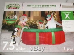 Gemmy 7.5' Lighted Animated Reindeer Swimming Pool Christmas Airblown Inflatable