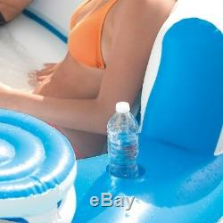 Inflatable 7 Person Raft Island Oasis Pool Lake Beach Lounge Backrests Cooler