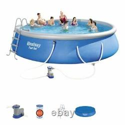 Inflatable Above Ground Round Swimming Pool Fast Set with Filter Pump 18' x 48