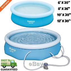 Inflatable Above Ground Swimming Pool Fast Set with Filter Pump Multiple Sizes
