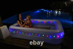 Inflatable Coloured Led Large Family Paddling Swimming Garden Summer Pool Fun