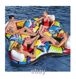 Inflatable Floating Island 4 Person Built-in Cooler Lake River Pool Multicolor
