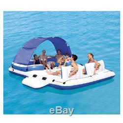 Inflatable Floating Island Canopy Pool Lake Raft Lounge Sun Shade 6 Person NEW