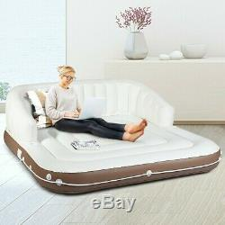 Inflatable Floating Island Pool Lounger Raft Boat Beach Sun Bed Tent Cup Holder