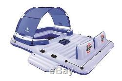 Inflatable Floating Island with Sun Shade Water Lake Boat Pool Party 6 Person
