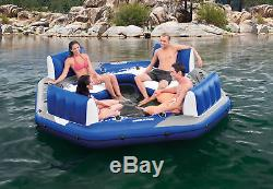 Inflatable Floating Lounge Island 4 Person Relaxing Station Lake Pool Float Fun
