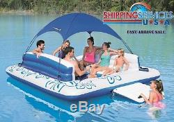 Inflatable Floating Lounge Raft Canopy Sunshade Island Lake Pool with Drink Holder