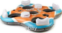 Inflatable Island Lounge River Raft Float 4-Person Water Lake Floating Pool Cup
