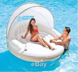 Inflatable Luxury Canopy Island Lake Water Lounger Swimming Pool Float Lounge
