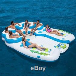 Inflatable Party Raft for Swimming Pool Floating Island 7 Person Tropical Tahiti