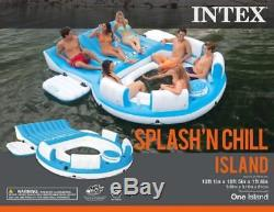 Inflatable Pool Float Relaxation Island 6 Person Raft Backrest Cooler Blue White