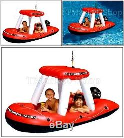 Inflatable Raft Lake Pond Giant Fireboat Squirter Canopy Boat Floating Pool Swim