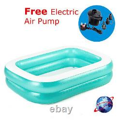 Inflatable Rectangular Family Garden Paddling Swimming Pool With Electric Pump