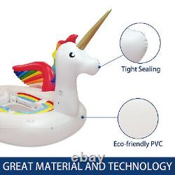 Inflatable Unicorn 6 Person Swimming Pool Giant Lake Beach Party Island withPump