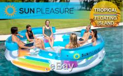 Inflatable floating island with carrying bag lake river party pool 6 person NEW