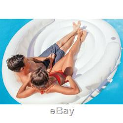 Intex 1.99m Canopy Island Inflatable Swimming Pool Float with Sun Shade White 14y+