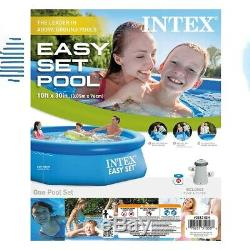 Intex 10ft x 30in Easy Set Inflatable Kid Swimming Pool with 330 GPH Filter Pump