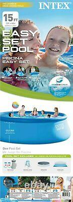 Intex 15 FT X 48 IN Easy Set Inflatable Above Ground Swimming Pool, Fast SHIP