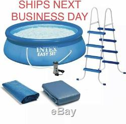 Intex 15 ft x 48 in Inflatable Easy Set Above Ground Swimming Pool Ladder & Pump
