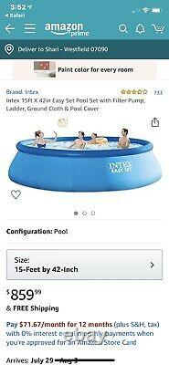 Intex 15 x 42 Easy Set Up Inflatable Above Ground Swimming Pool Set