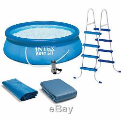 Intex 15' x 48 Inflatable Easy Set Above Ground Swimming Pool, Ladder And Pump