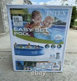 Intex 15ft x 33in (15' x 33) Easy Set Inflatable Swimming Pool with Filter Pump