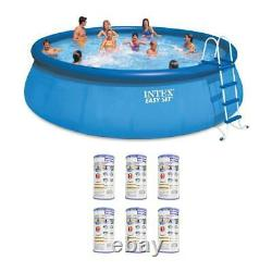 Intex 18' x 48 Inflatable Easy Set Above Ground Pool Set + Filter Cartridge (6)